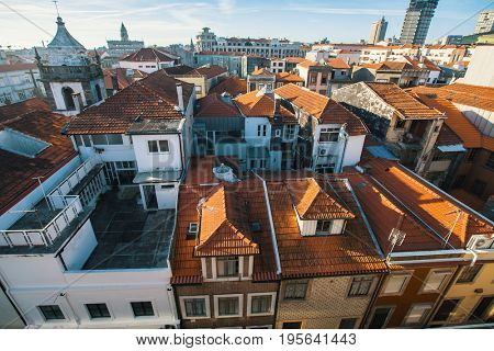 Roofs of the houses in the old centre of Porto, Portugal.