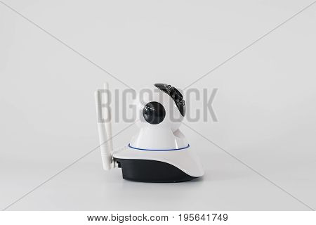 Wireless cctv cameras over white background can connect to the internet and control the camera via a smartphone or tablet.