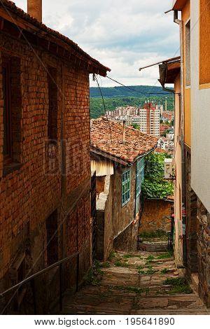 VELIKO TARNOVO BULGARIA - MAY 28 2017: Pedestrianized street with view on socialism period quarters