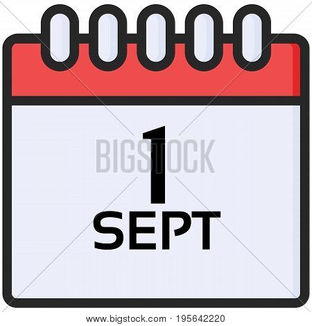 Simple Vector Icon of a classic calender for first of september in flat style. Pixel perfect. Basic education element. School theme. Back to college.