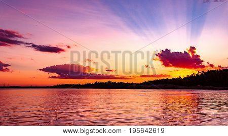 Amazing Sunset At Rio Madeira In Porto Velho Ro Brazil