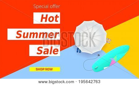 Hot summer super sale. Selling ad banner. Hot summer super vacation discounts. Sun umbrella, surfboard on flat design poster. Sign of the vacation rest. Summer sale horizontal background.