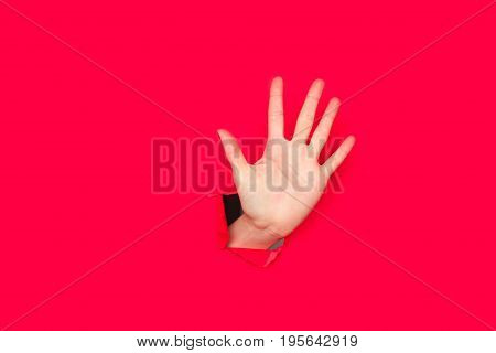 Horizontal studio shot of person showing palm or counting to five through hole in red cardboard.
