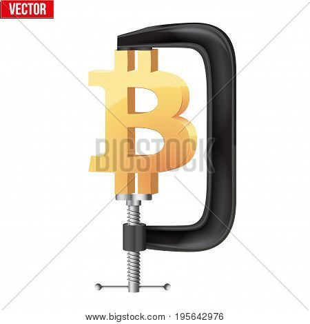 Concept of cryptocurrency Bitcoin Under pressure. Symbol Ethereum being squeezed in vice. Vector Illustration isolated on white background.