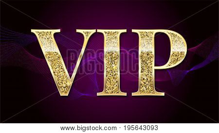 Golden symbol of exclusivity, the label VIP with glitter. Very important person - VIP icon on elite, abstract a wave of smoke background, luxury card. Template for vip banners, invitation or cover.