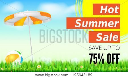 Summer selling ad banner, vintage text design. Seventy five percent discounts, hot summer sale background, with sun umbrella and inflatable beach ball, yellow sun, green field, clouds and blue sky