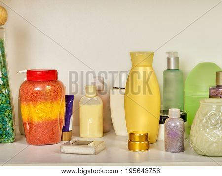Cosmetics package of beauty products in cosmetic bottle. Packaging drugs for healthy. Nobody still life of items for cosmetology. Natural methods to create, restore and maintain female beauty.