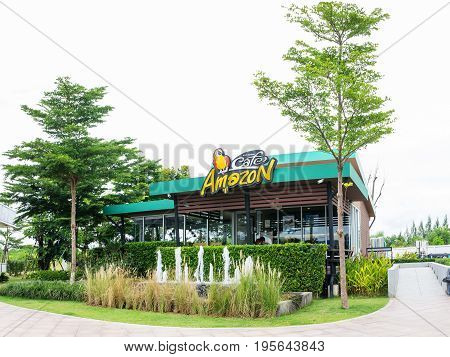 Nakorn Ratchasima THAILAND - Jul 15 : Cafe Amazon beverage shop at PTT Oil station on Jul 15 2017 in Korat THAILAND. It's a famous Thai franchise coffee house in Thailand.