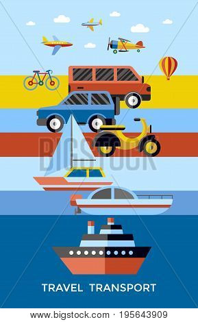 Digital vector red yellow blue travel transport icons set with drawn simple line art info graphic, presentation with car, plane and vehicle elements around promo template, flat style