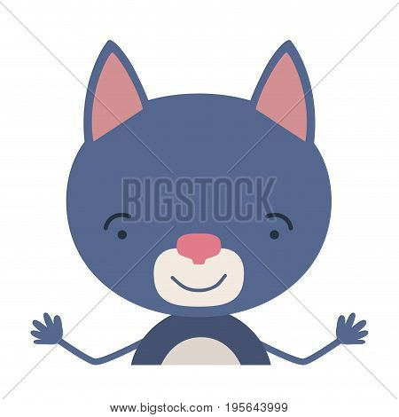 colorful half body caricature of cute cat surprised expression vector illustration