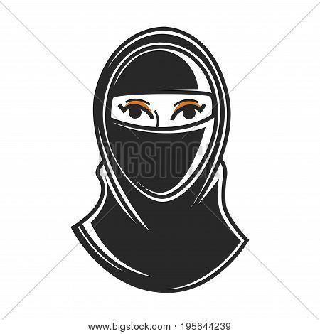 Paranji burqa or hijab chada traditional Arabian Muslim woman clothes. Symbol of United Arab Emirates culture or tourism travel famous sightseeings. Vector flat outline icon