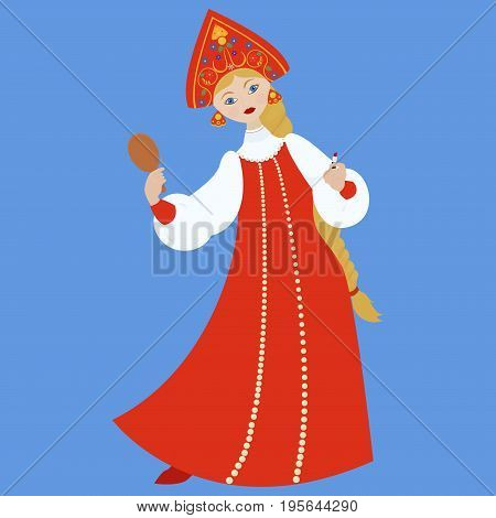 cute Russian girl in red long traditional folk dress or costume make make-up