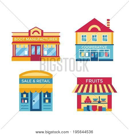 Digital vector yellow supermarket icons with drawn simple line art info graphic, presentation with commerce, shopping building elements around promo template, flat style