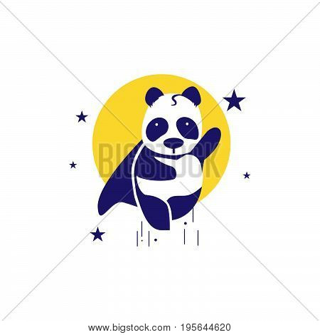 Flying pandas in outer space like superman, funny strong, logo icon, illustator, vecktor