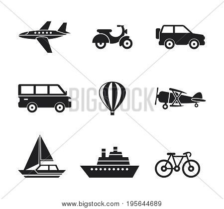 Digital vector black travel transport icons set with drawn simple line art info graphic, presentation with car, plane and vehicle elements around promo template, flat style