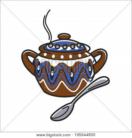 Bulgarian traditional handicraft clay ceramic pot or soup bowl for food with spoon. Vector isolated symbol of folk craft kitchenware of Bulgaria cooking