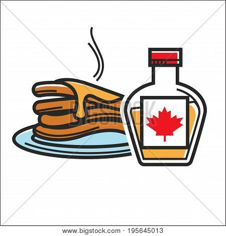 Canadian pancakes in maple syrup. Canada traditional national food dessert symbol. Vector isolated flat icon for culture and travel design