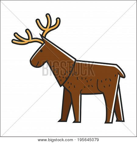 Canadian moose elk. Canada traditional national forest animal symbol. Vector isolated flat icon for culture and travel design