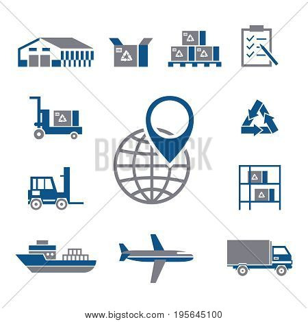 Digital vector silver blue warehouse icons with drawn simple line art info graphic, presentation with transport, globe and storage depositing logistic elements around promo template, flat style