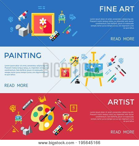 Digital vector blue red artist icons set with drawn simple line art info graphic, presentation with paint, canvas, brush and art tools elements around promo template, flat style