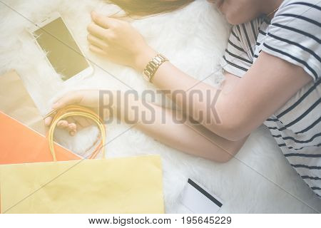 Young asian women entrepreneur working in a home office at her desk Home work space concept