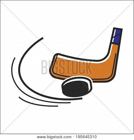 Canadian hockey sick club and puck. Canada traditional national winter ice skating sport symbol. Vector isolated flat icon for culture and travel design