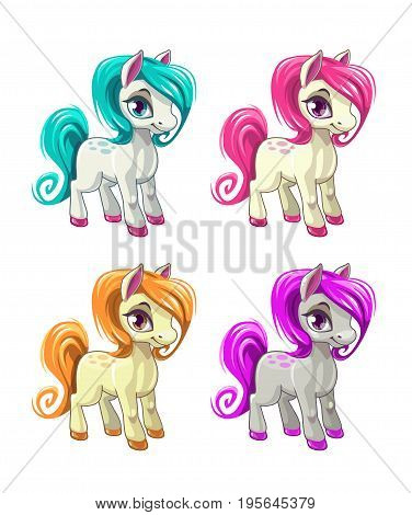 Cute cartoon little horses. Pony icons set. Vector illustration, isolated on white background.