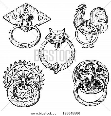 Detail ancient building. architectural ornamental elements, wooden door knob, knocker or handles. Rooster and mouse. engraved hand drawn in old sketch, vintage and Antique, baroque or gothic style