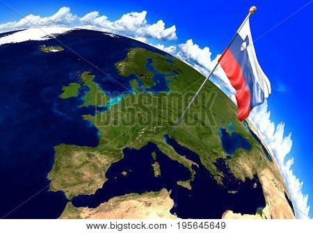 Slovenia national flag marking the country location on world map. 3D rendering, parts of this image furnished by NASA