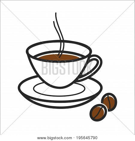 Coffee cup and beans for Cuba travel destination and famous culture landmark symbol. Vector isolated outline icon