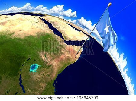 Somalia national flag marking the country location on world map. 3D rendering, parts of this image furnished by NASA