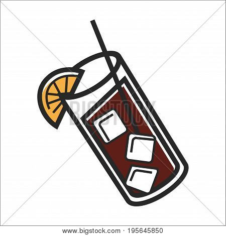 Cocktial drink in glass with ice cubes for Cuba travel destination and famous culture or popular national landmark symbol. Vector isolated outline icon