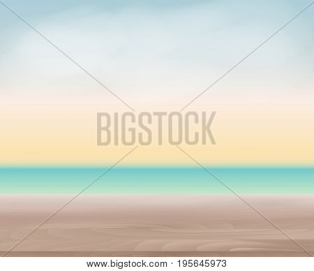 Wood Table Top on Abstract Blur Natural Sea Background for Display or Montage Your Products Template for Ads, Announcement Sale, Promotion New Product or Magazine Background. 3D Realistic Vector Iillustration. EPS10