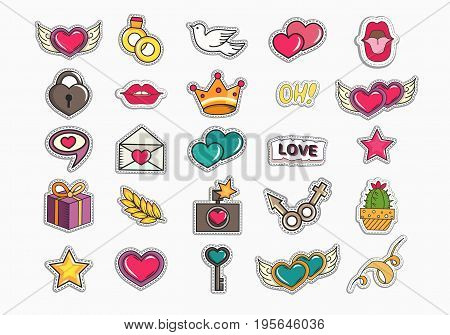 Love and wedding patch badges elements. Vector template illustration. Heart, ring, marriage union and other love items.