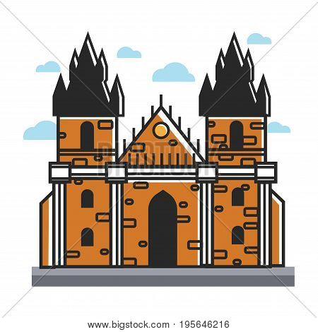 Prague Castle in Czech Republic symbol for travel destination and famous architecture landmark attraction. Vector isolated outline icon