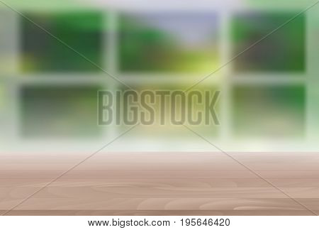 Wood Table Top on Blur Natural Green Background for Display, Montage Your Products Template for Ads, Announcement Sale, Promotion New Product or Magazine Background. 3D Realistic Vector Iillustration. EPS10