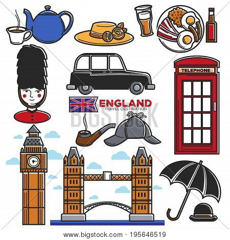 England travel destination landmarks and famous tourist attraction symbols. UK British flag, Big Ben Tower or London Bridge and royal guard, red telephone booth and taxi cab. Vector isolated icons set