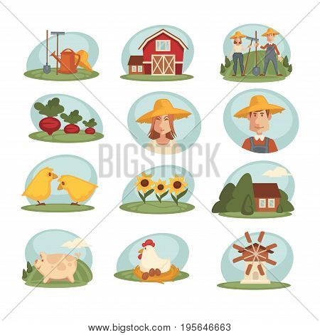 Farmer household or farm cattle and agriculture. Man and woman farmers on wheat or vegetables harvest field, pig pasture and chicken hatch, house or grain mill and barn. Vector flat icons set