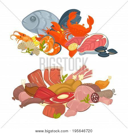 Food meat, fish and seafood of pork bacon brisket, lobster crab or mussels, beef steak and turkey or chicken filet. Vector flat icons set for farm fresh products and cooking