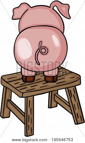 Scalable vectorial image representing a cute pig on wooden stool, isolated on white.