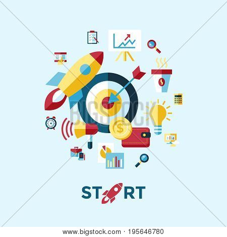 Digital vector blue red startup icons with drawn simple line art info graphic, presentation with rocket, project and business elements around promo template, flat style