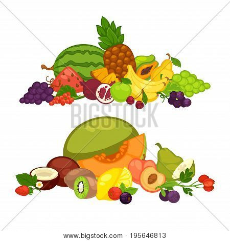 Fruits and berries food flat icons. Watermelon, melon or tropical pineapple and kiwi, farm fresh apricot, apple or pear and lemon fruit, strawberry or raspberry and blueberry berry harvest vector set
