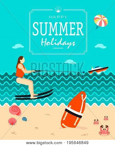 Summer holiday poster vector template with skiing and abstract beach in the background.