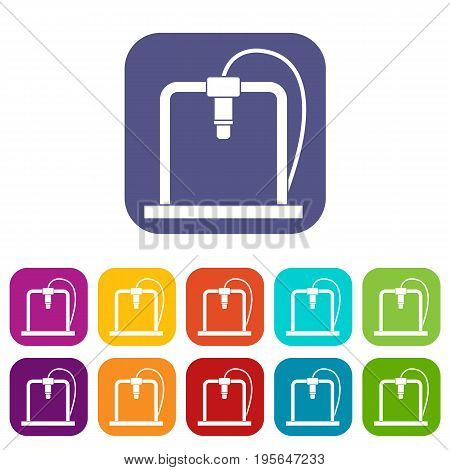 3D printer frame icons set vector illustration in flat style In colors red, blue, green and other