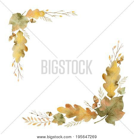 Watercolor wreath of leaves and branches isolated on white background. Autumn illustration for greeting cards, wedding invitations, quote and decorations.