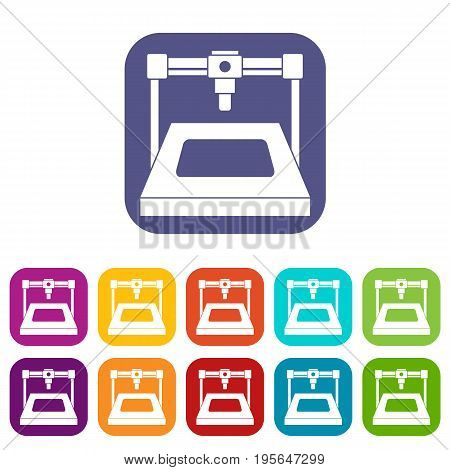 3D printer icons set vector illustration in flat style In colors red, blue, green and other