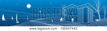 Modern house, people walking on sea shore. Boats on the horizon. Mountains on background. Architecture and nature panorama, night scene, white lines, vector design art