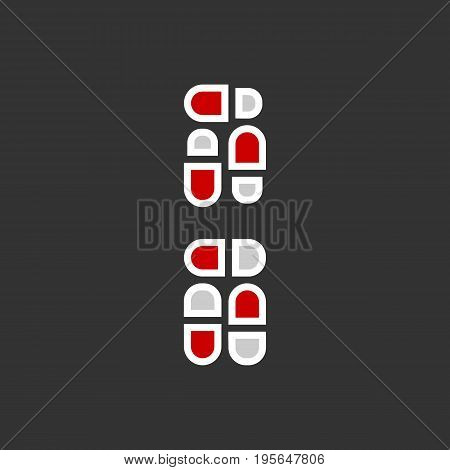 Pills, capsules Icon in trendy flat style isolated on black background. Tablet symbol for your web site design, logo, app, UI. Vector illustration, EPS10.