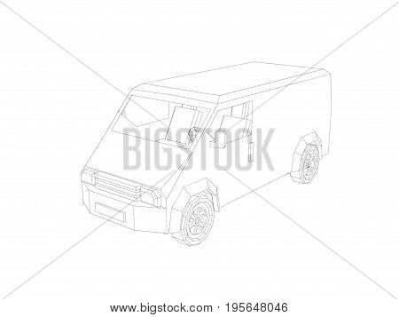 Polygonal minibus. Isolated on white background. Sketch illustration.