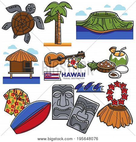 Hawaii travel famous symbols and tourism sightseeing or attraction landmarks. Vector icons of Hawaiian flag, aloha dancer guitar and turtle, palm on volcano and shirt for beach surfing